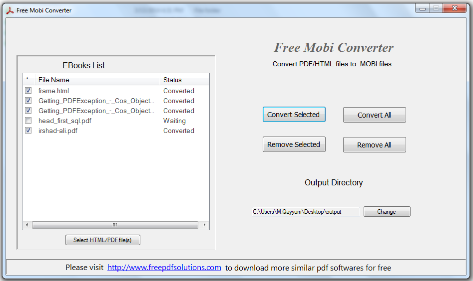 Click to view Free Mobi Converter screenshots